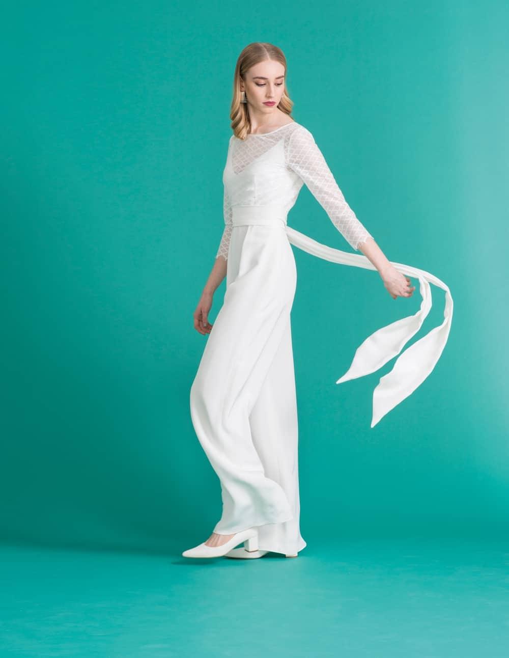 Hadley - Braut Jumpsuit aus Seide mit zarten Spaghettiträgern