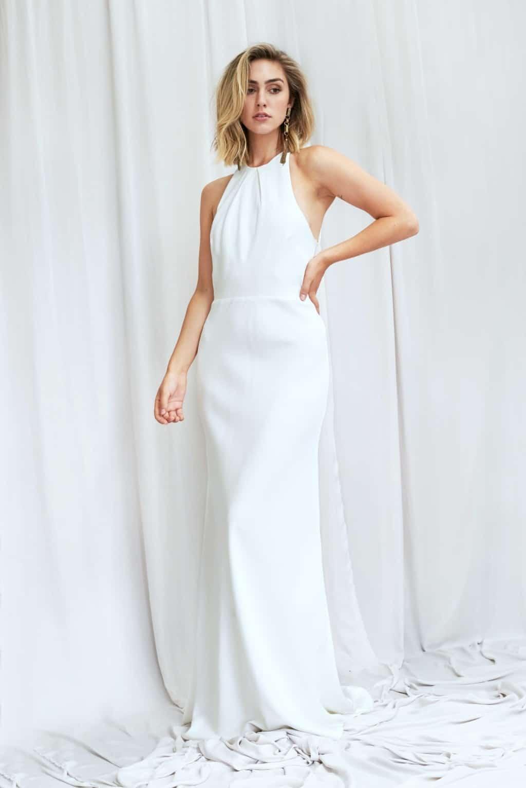 Franklin - Neckholder Brautkleid aus Seidensatin mit transparentem Taillenbund und einem Hauch von Glitzer
